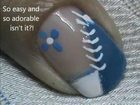 Blue Flower Blossoms - easy nail art for short nails- nail art tutorial- nail design for beginners