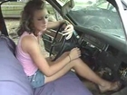 Shelby Cranking old car in Sandals